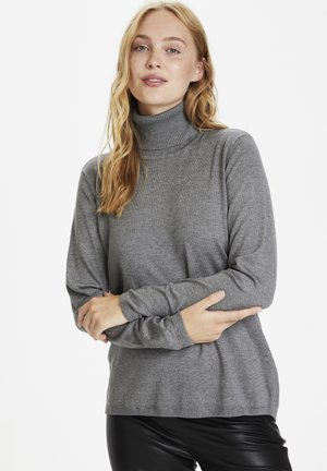 Stickad tröja - mid grey melange