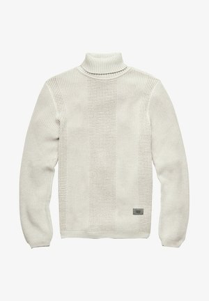 STRUCTURED TURTLENECK KNITTED - Pullover - whitebait/charcoal