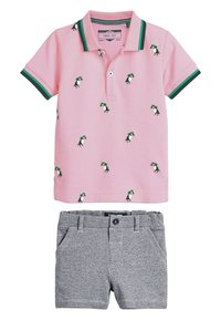 Next - PINK/BLUE TOUCAN POLO AND SHORTS SET (3MTHS-7YRS) - Shorts - pink - 0