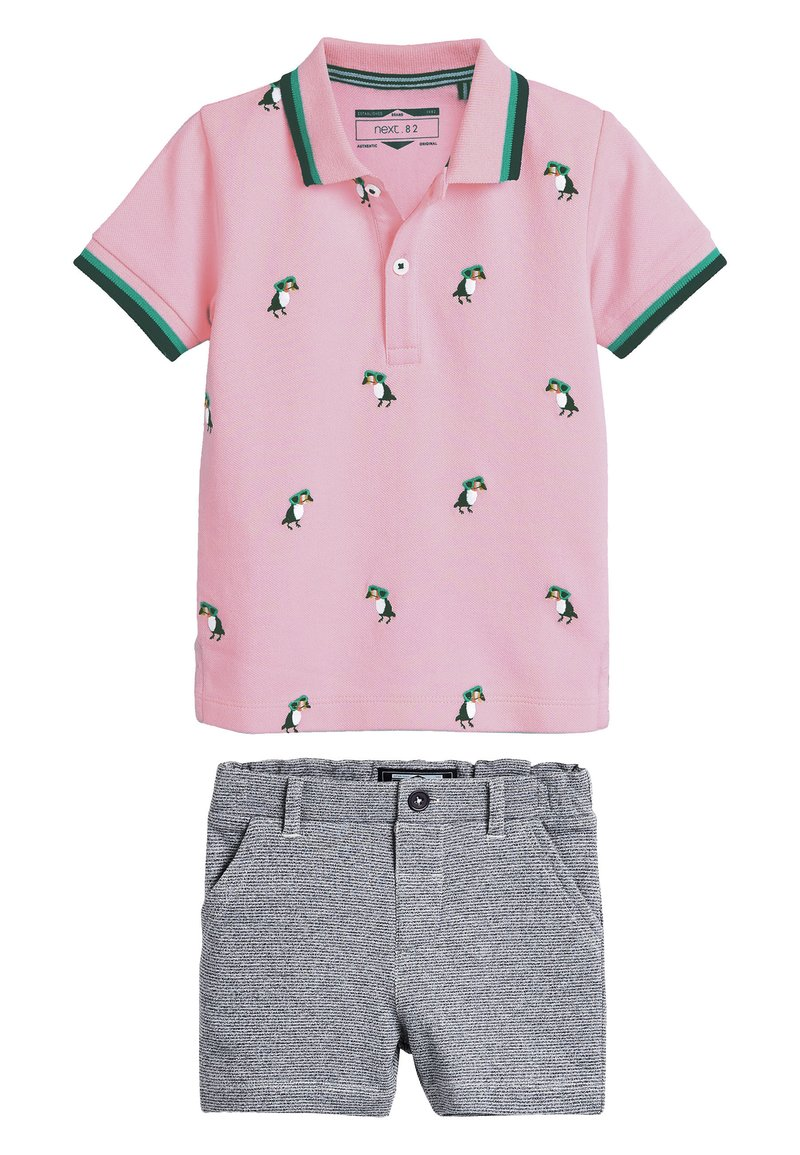 Next - PINK/BLUE TOUCAN POLO AND SHORTS SET (3MTHS-7YRS) - Shorts - pink