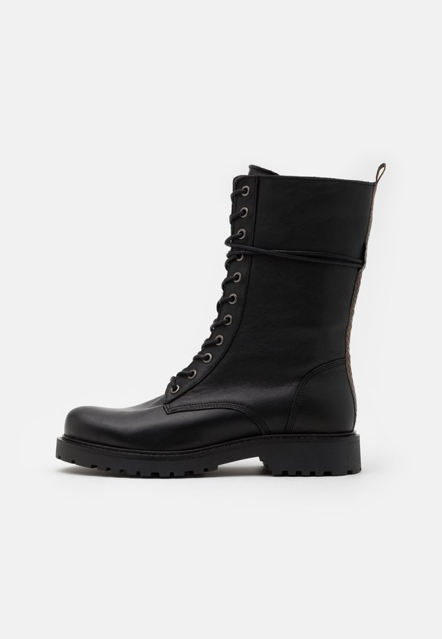 Lace-up boots - black/yellow