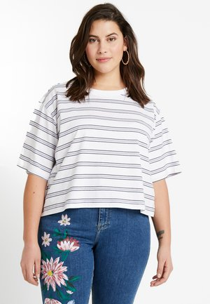 LADIES MULTICOLOR STRIPE TEE - T-shirt print - white/black/skyblue/firered