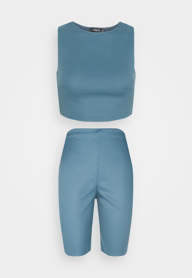 Missguided Petite - RACER NECK CROP AND CYCLING SET - Top - blue