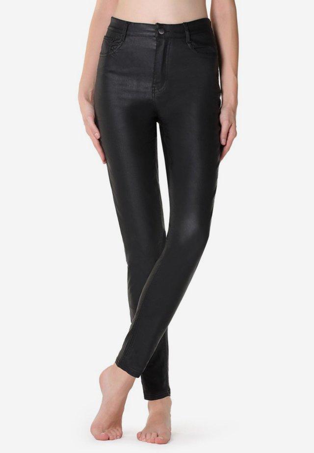 MIT LEDEREFFEKT - Leggings - Hosen - black