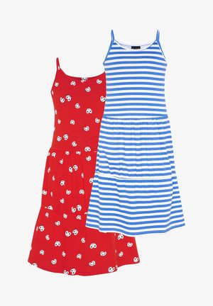 2-PACK - Jersey dress - red/white