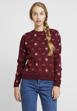 LIPS PATTERN - Sweatshirt - burgundy