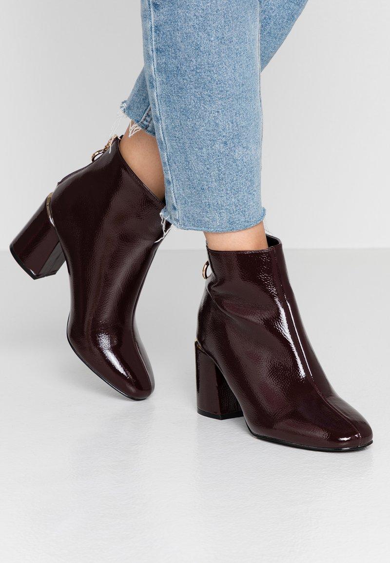 Dorothy Perkins Wide Fit - WIDE FIT AFAR HEEL BACK ZIP - Ankle Boot - oxblood