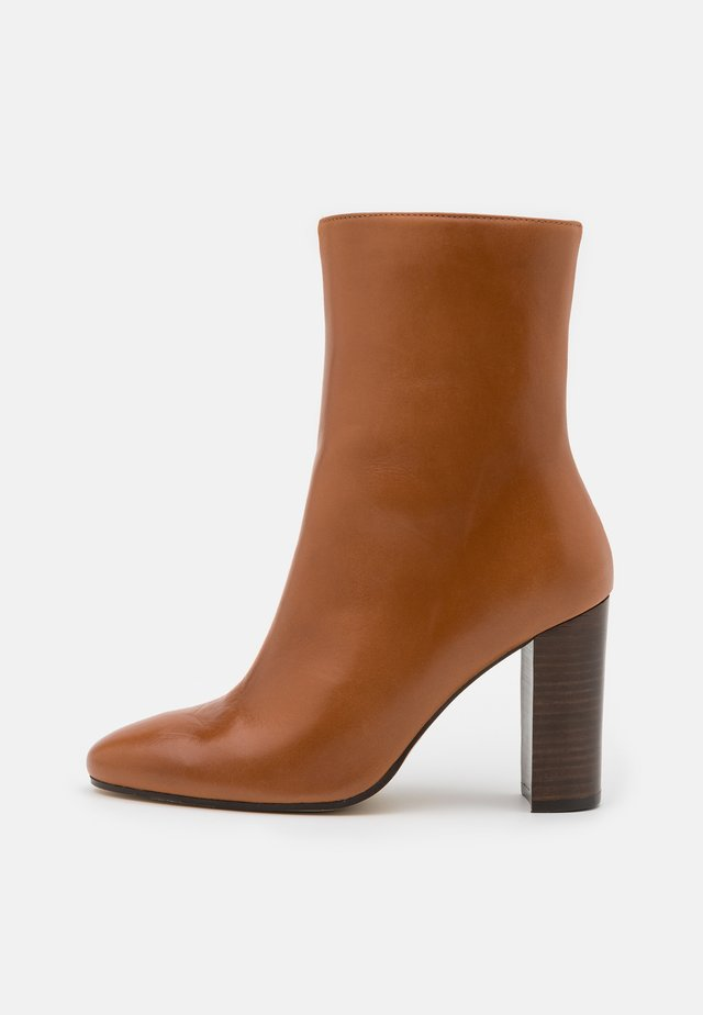 VALORIS - High heeled ankle boots - cognac