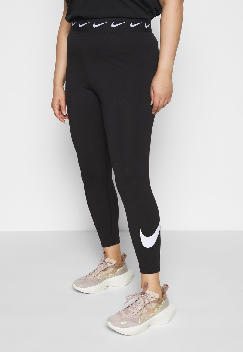 Nike Sportswear - CLUB PLUS - Leggings - black/white