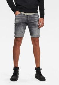 G-Star - 3301 SLIM - Denim shorts - vintage basalt destroyed - 0