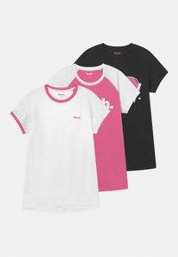 Bench - 3 PACK - Camiseta estampada - white/black/pink - 0