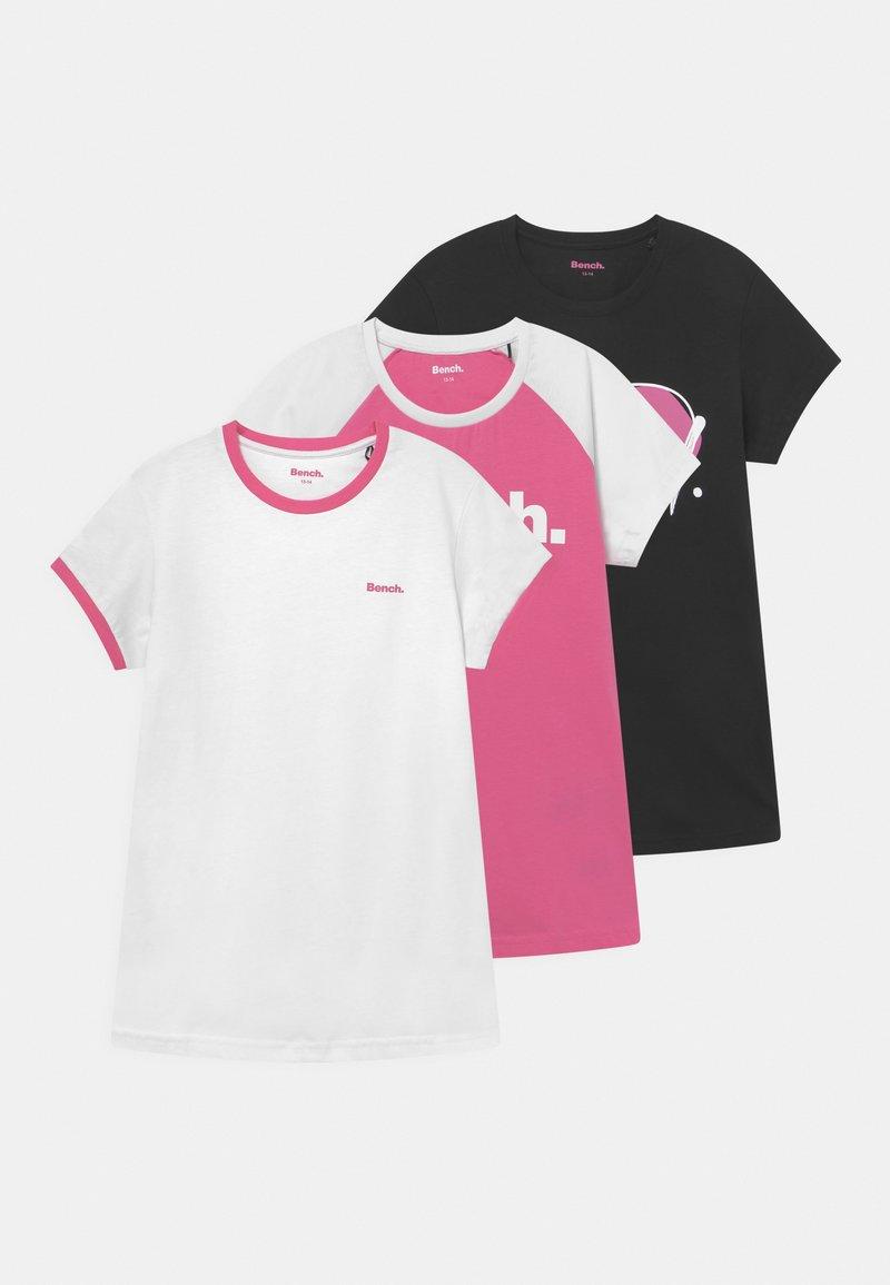 Bench - 3 PACK - Camiseta estampada - white/black/pink
