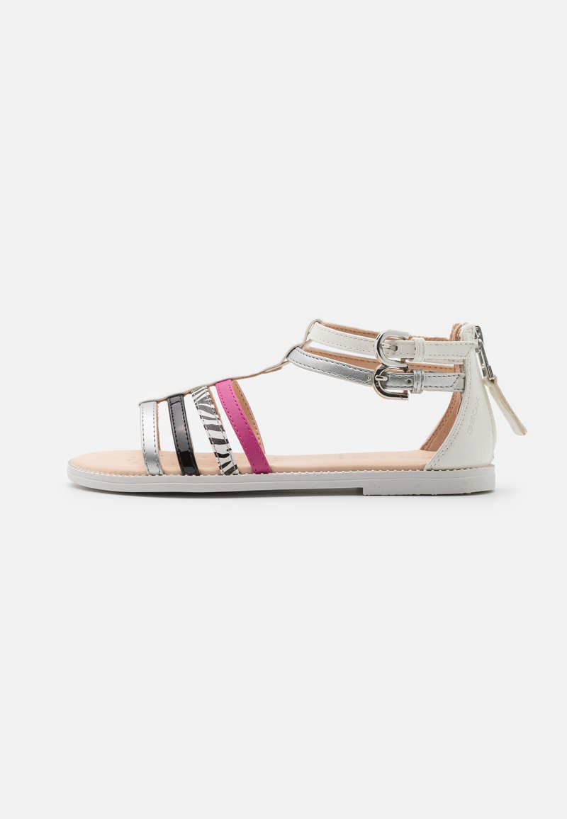 Geox - KARLY GIRL - Sandals - white/silver/black