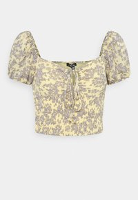 Missguided - FLORAL RUCHED NECK SHIRRED WAIST - Blouse - yellow - 3