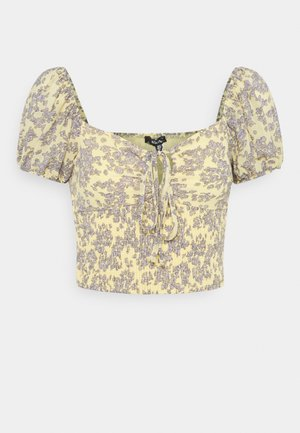 FLORAL RUCHED NECK SHIRRED WAIST - Blouse - yellow