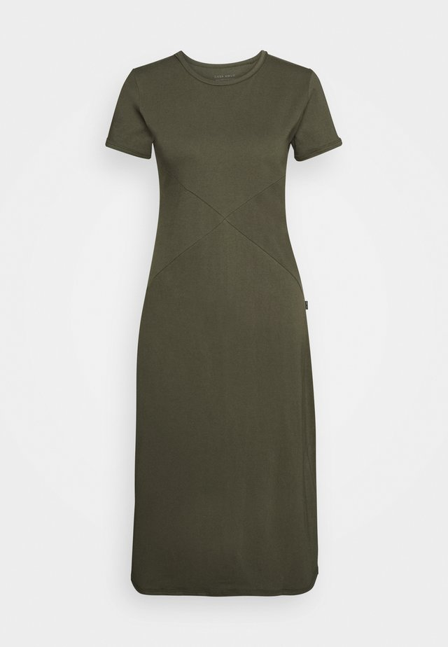 SIDE SPLIT MIDI DRESS - Žerzejové šaty - olive