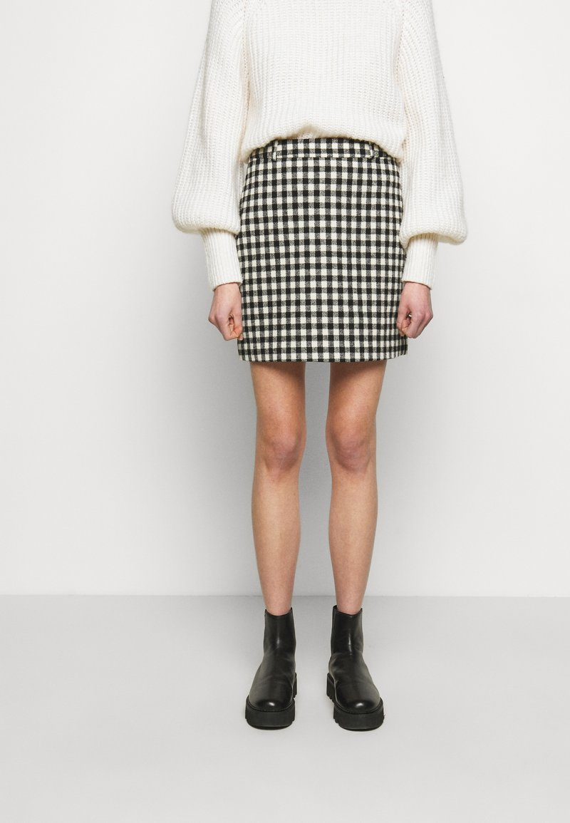 2nd Day - CHARITON CHECK - Mini skirt - black