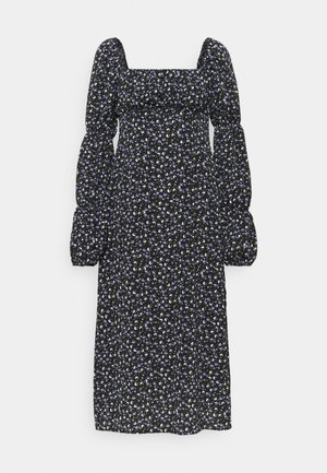 SQUARE NECK MIDI DRESS FLORAL - Day dress - black