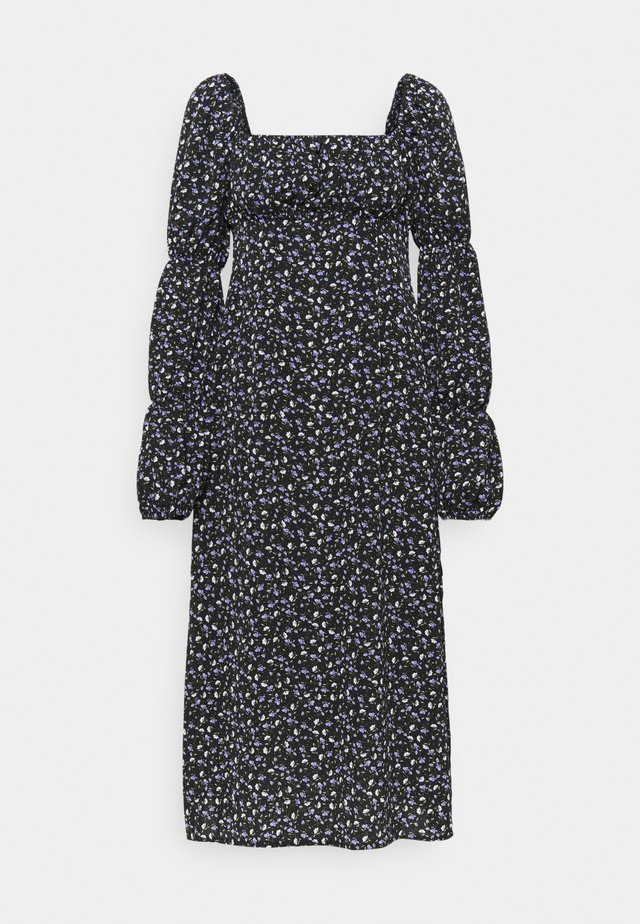 SQUARE NECK MIDI DRESS FLORAL - Robe d'été - black