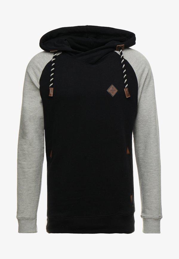 INDICODE JEANS DYOTT - Bluza z kapturem - black mix/czarny melanż Odzież Męska FTTP