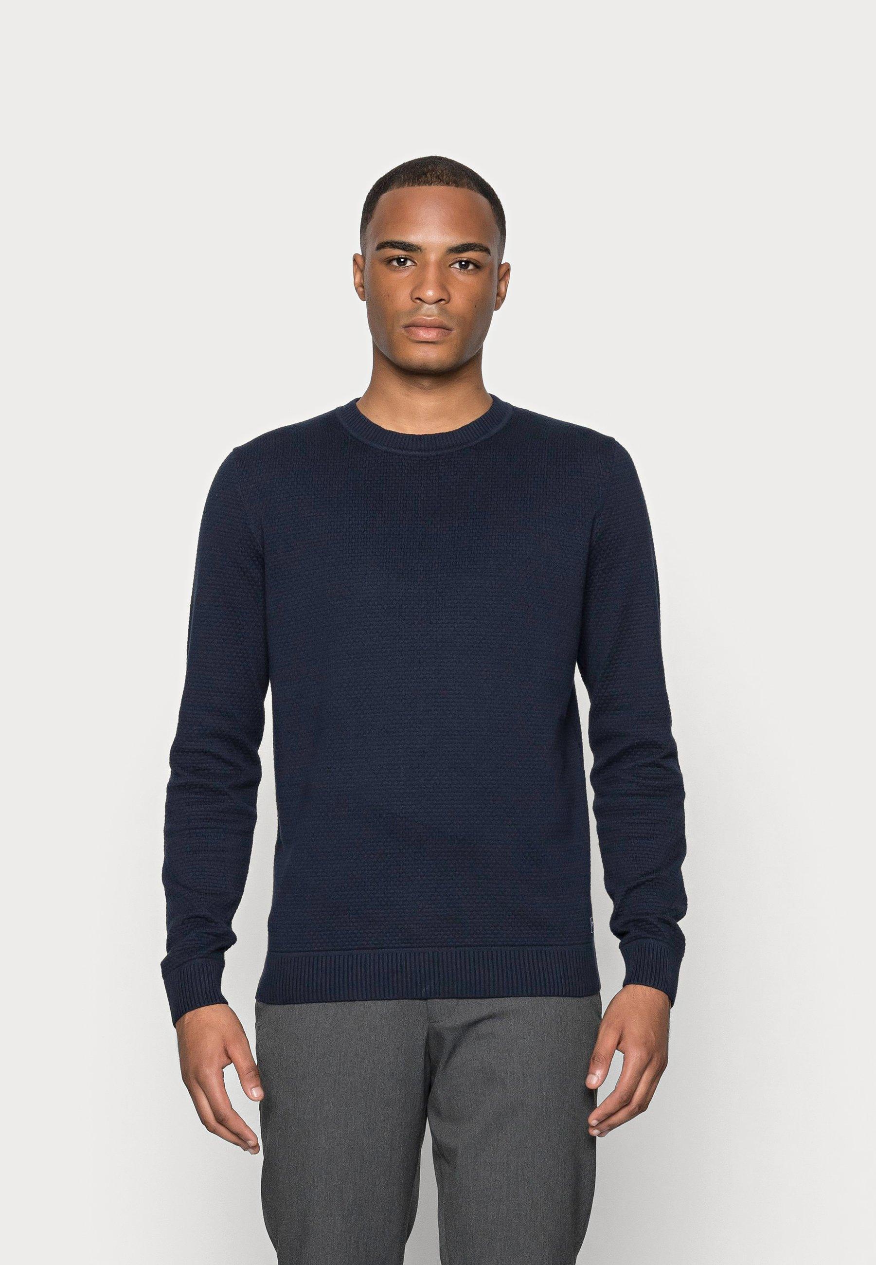 Homme BASIC STRUCTURE SWEATER - Pullover - navy
