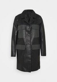 PAULINE CONTRAST POCKET COAT - Kožená bunda - black