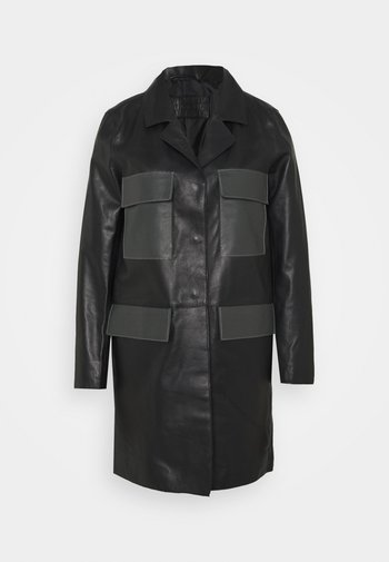 PAULINE CONTRAST POCKET COAT - Leather jacket - black