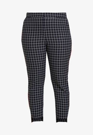 NEW WAISTBAND EXTERAL WINDOW PANE TAPERED TROUSERS - Trousers - navy