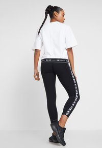 DKNY - TWO TONE LOGO HIGH WAIST LEGGING - Leggings - black - 2