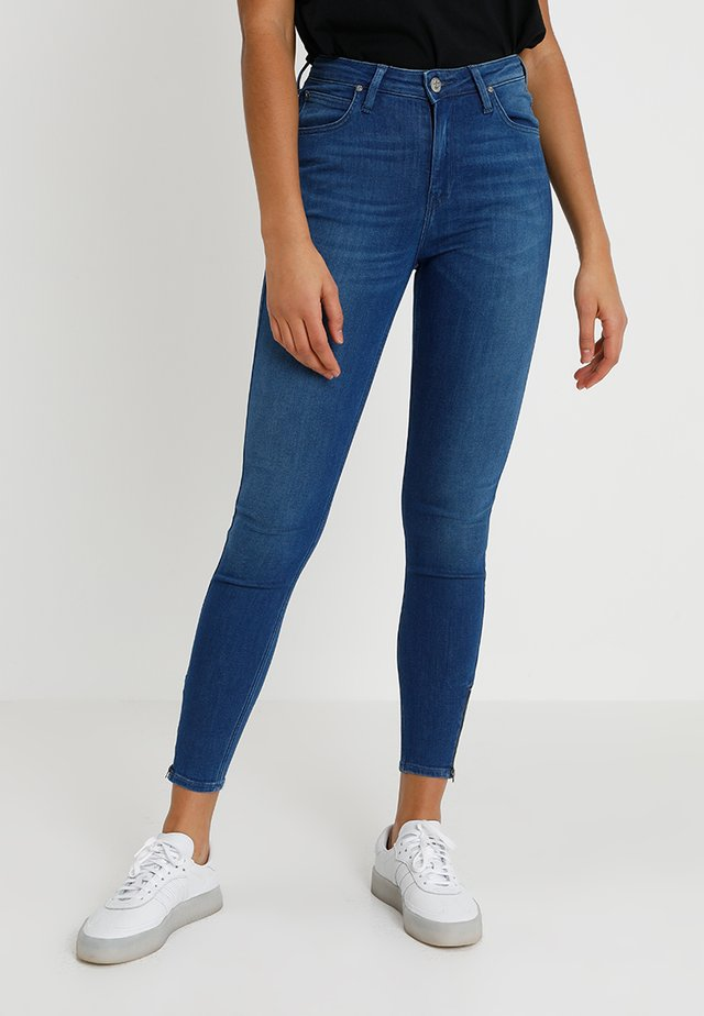 SCARLETT HIGH ZIP - Jeansy Skinny Fit - blue denim
