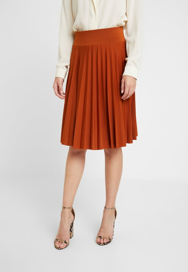 A-line skirt - leather brown
