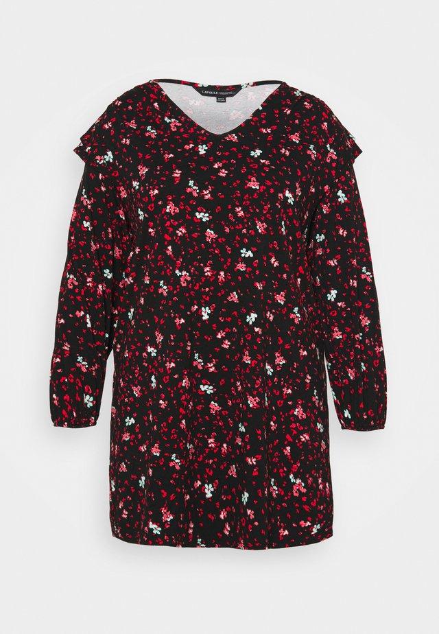V NECK SHOULDER DETAIL SHIFT DRESS - Sukienka z dżerseju - red