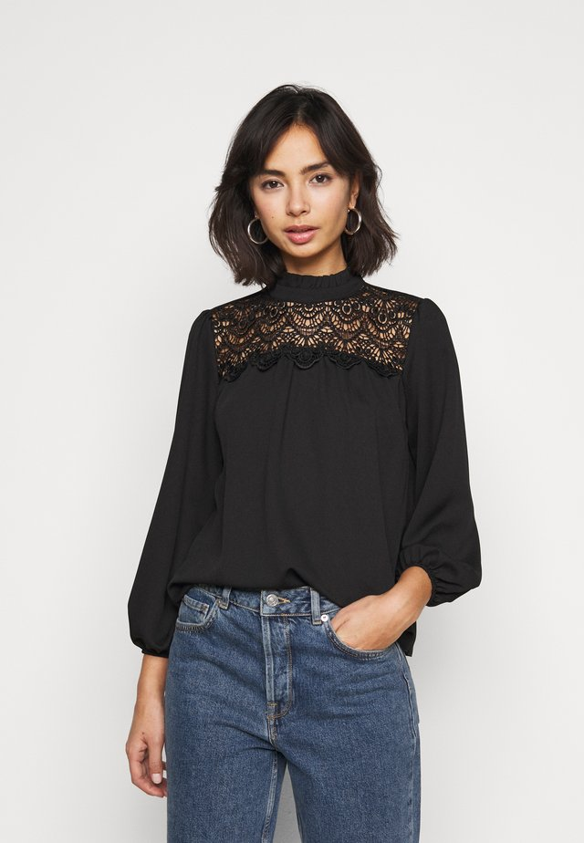 RUFFLE NECK YOKE - Overhemdblouse - black