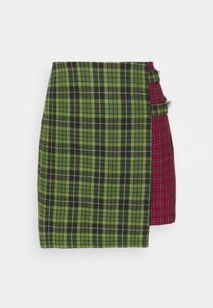 MIXED CHECK SKIRT - Mini skirt - red/green