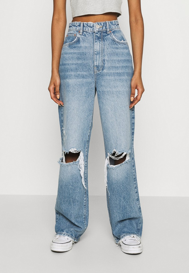 Gina Tricot - IDUN WIDE - Flared jeans - blue destroy