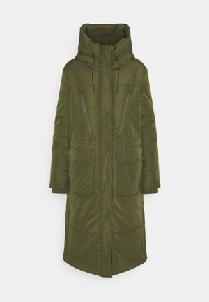 PADDED LONG COAT - Winter coat - deep olive green