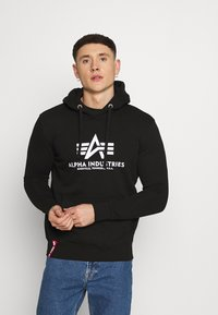 Alpha Industries - BASIC HOODY REFLECTIVE  - Luvtröja - black - 0