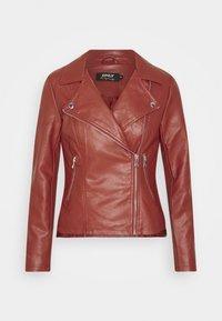 ONLY Petite - ONLMELISA BIKER - Faux leather jacket - red ochre - 3