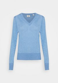 LIGHTWEIGHT WITH FITTED WAIST AND V-NECK - Pullover - sky blue melange
