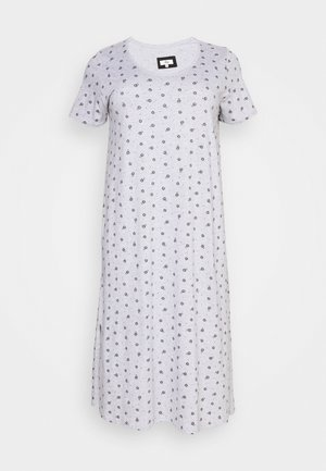 FLORAL AND SPOT PRINT LONG NIGHTDRESS - Nightie - grey