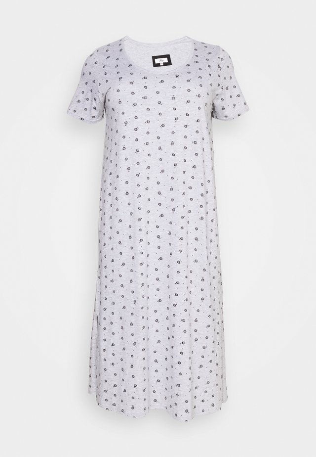 FLORAL AND SPOT PRINT LONG NIGHTDRESS - Nattlinne - grey
