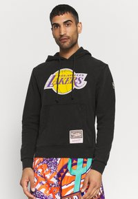 Mitchell & Ness - NBA LOS ANGELES LAKERS WORN LOGO HOODY - Club wear - black - 0