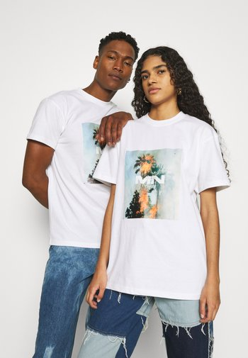 BURNING PALM TREE REGULAR UNISEX - Print T-shirt - white