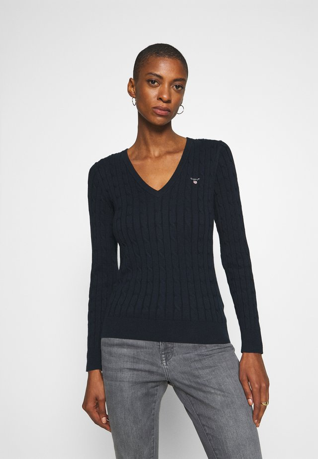STRETCH CABLE V NECK - Neule - evening blue