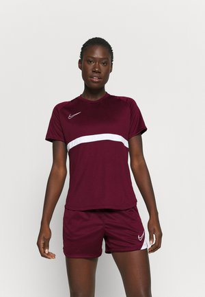 DRY - T-shirt z nadrukiem - dark beetroot/white