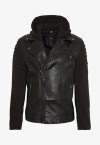HYBRID BIKER - Faux leather jacket - black