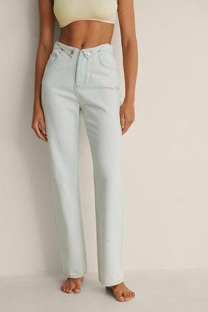 MIT GEFALTETER TAILLE - Straight leg jeans - bleached blue