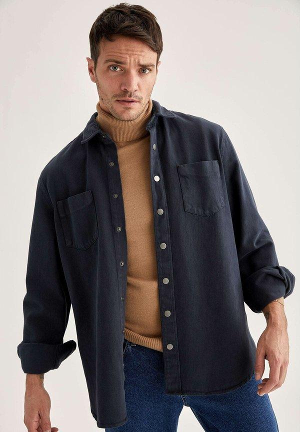 DeFacto Koszula - black/czarny Odzież Męska FAEO