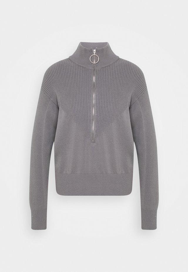 ZIP KNIT POLO - Jumper - grey