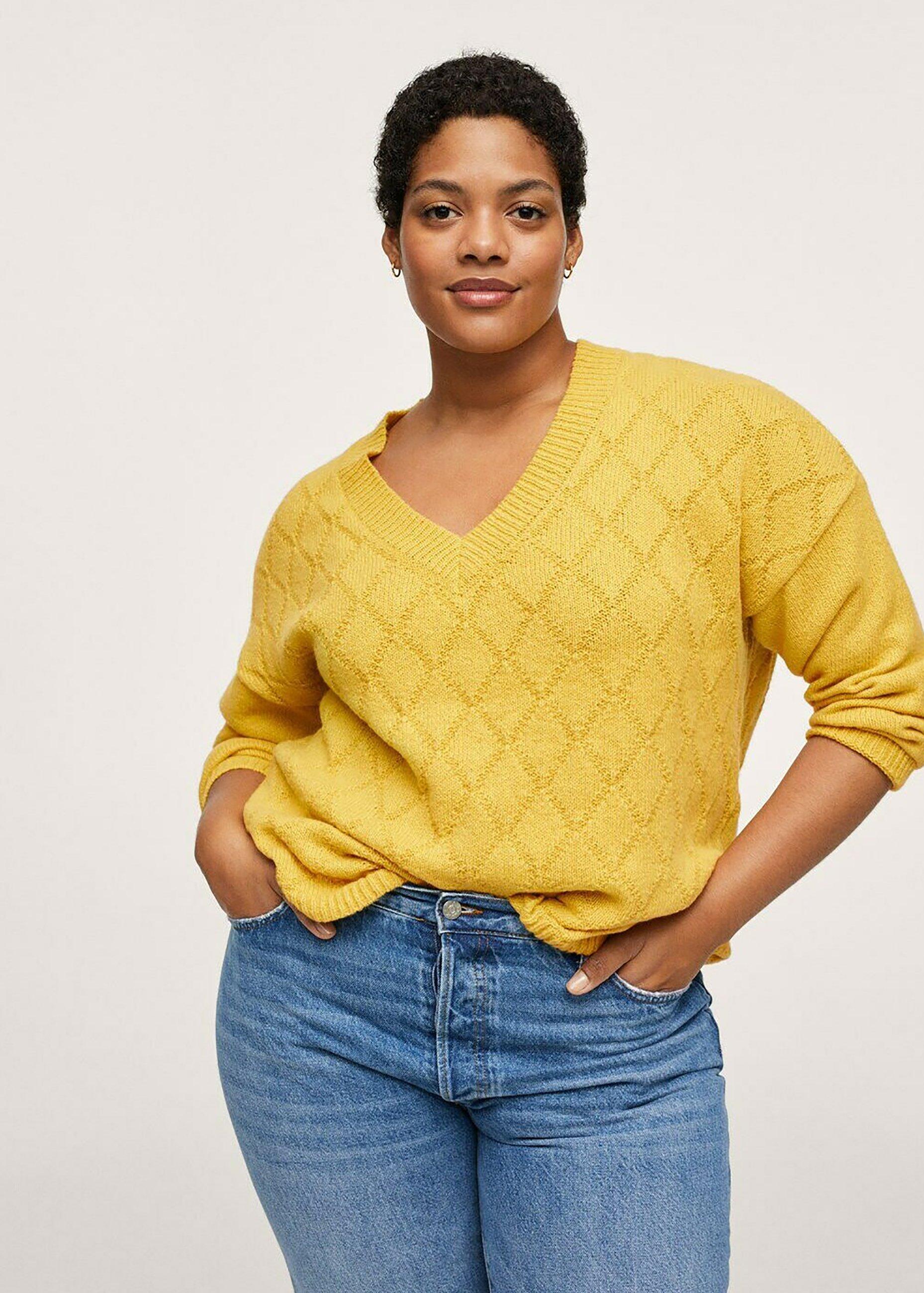 Women GECOMBINEERDE GEBREIDE TRUI - Sweatshirt